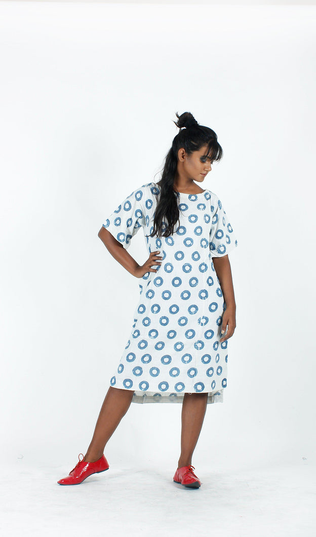 White Indigo Donut Dress-Resha.in
