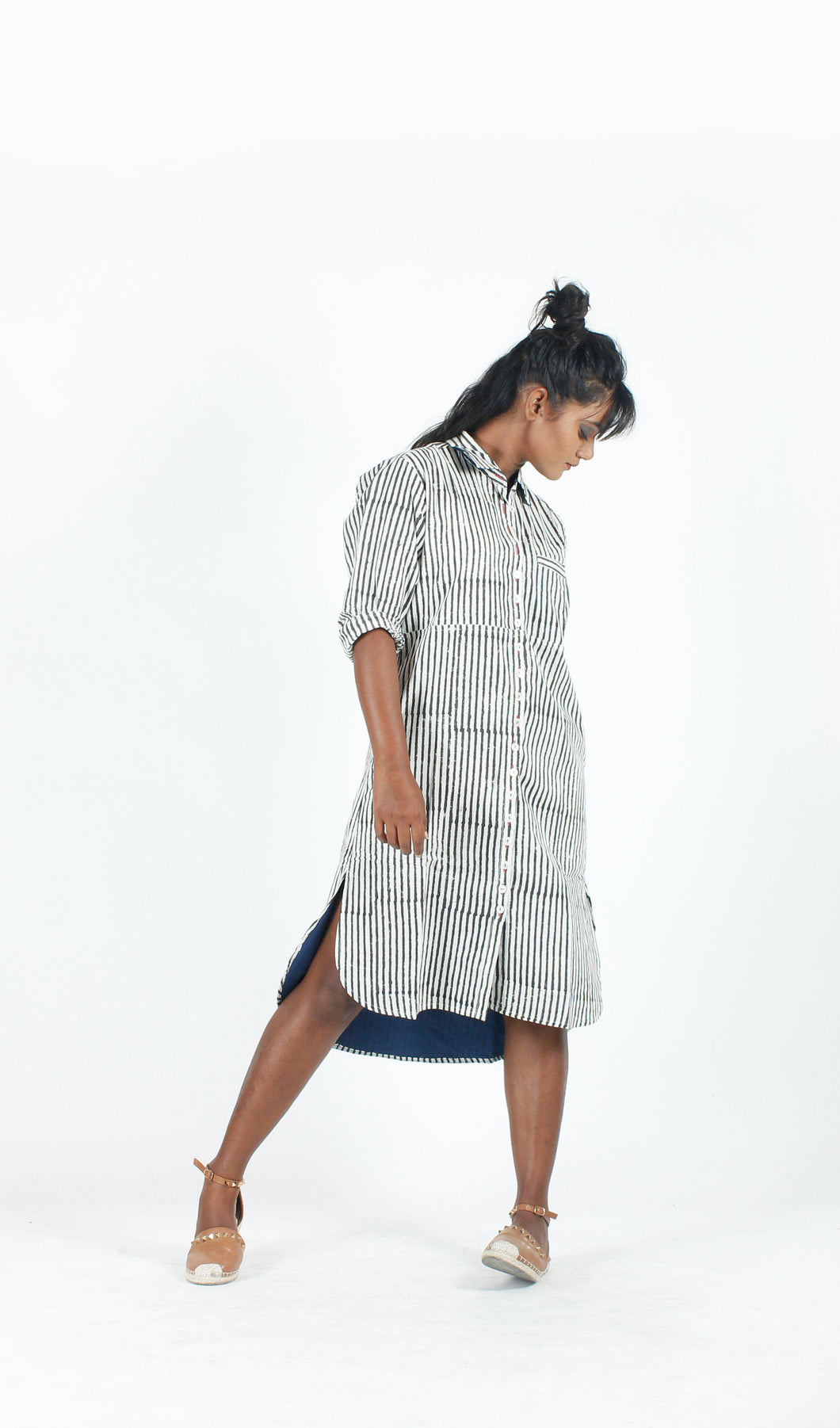 White Stripe Shirt Dress-Resha.in