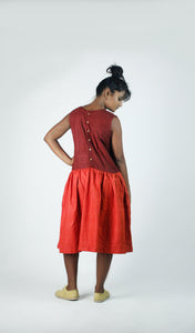 Rich Maroon & Red-Orange Dress-Resha.in