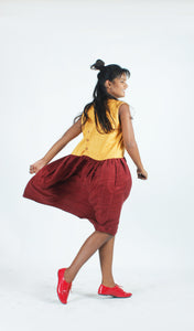 Ivory & Maroon Matka Silk Dress-Resha.in