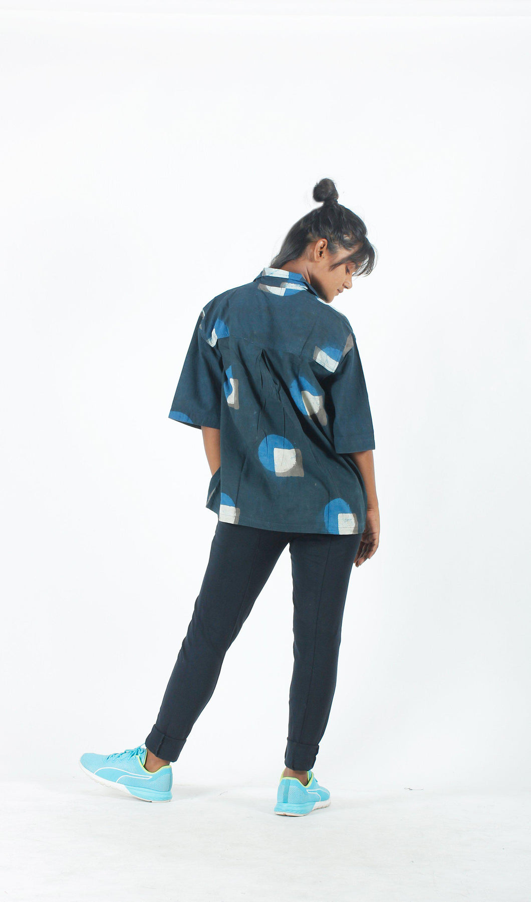 Indigo Geometric Shirt with Printed Pocket-Resha.in