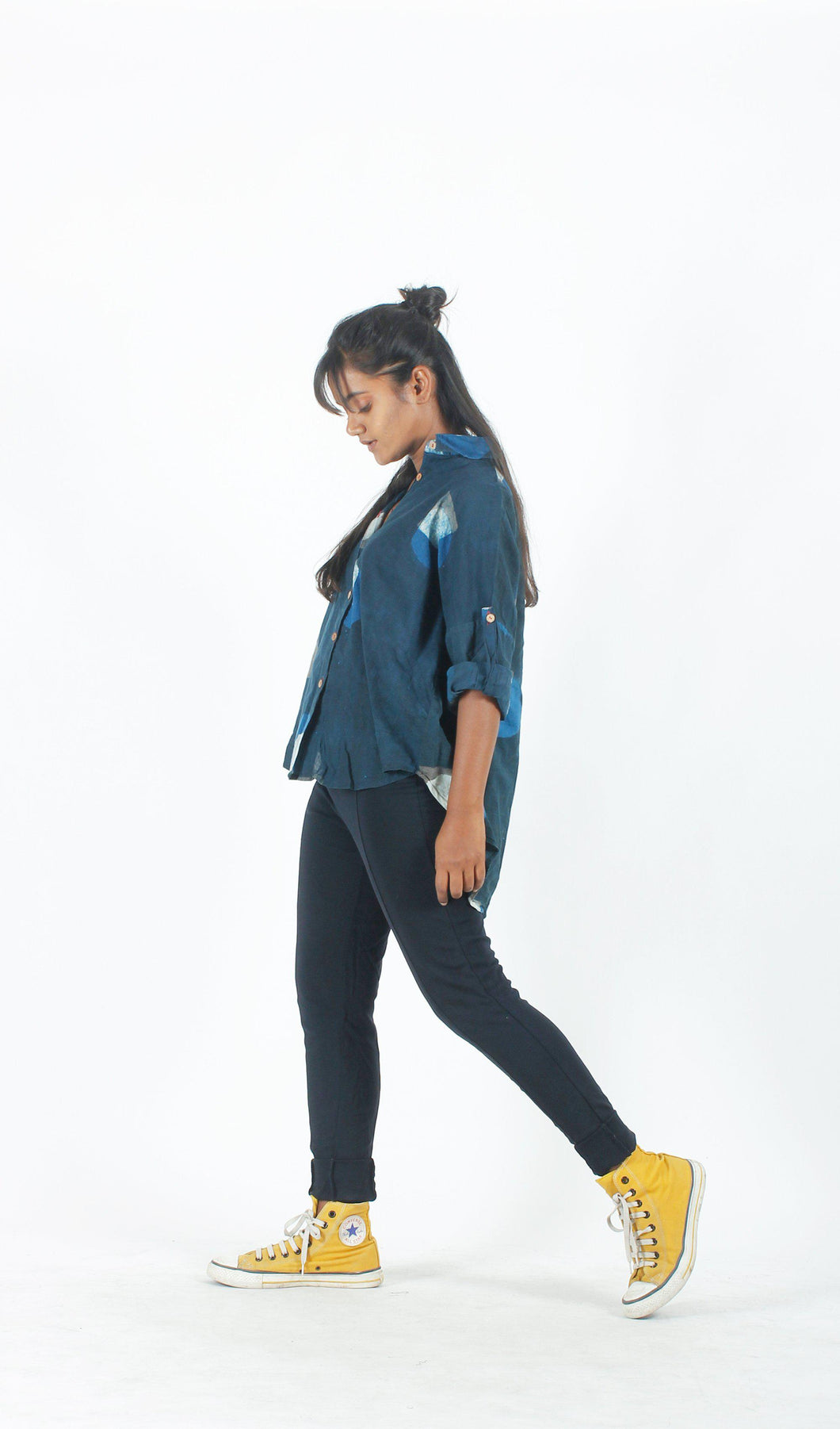 Indigo Geometric Androgynous Shirt-Resha.in