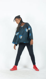 Indigo Geometric Androgynous Top-Resha.in