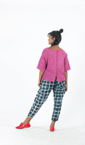 Magenta Khadi Top with Back Opening-Resha.in