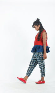 Red and Navy Blue Peplum Top-Resha.in