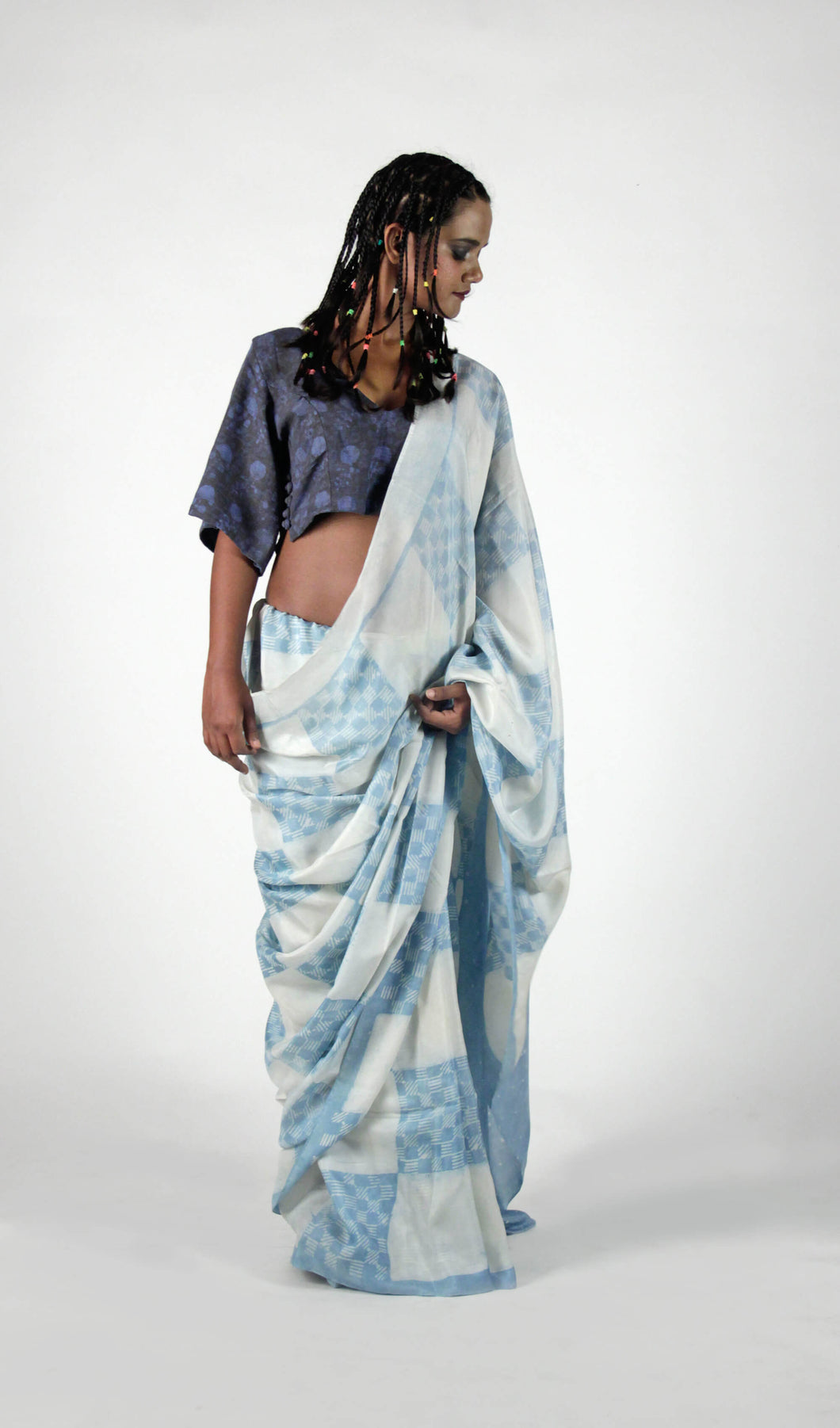 Anandita | Light indigo pure silk saree with dabu printing of Rajasthan