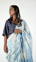 Load image into Gallery viewer, Anandita | Light indigo pure silk saree with dabu printing of Rajasthan