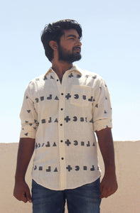 Cotton shirt for men with block printing and natural dyes