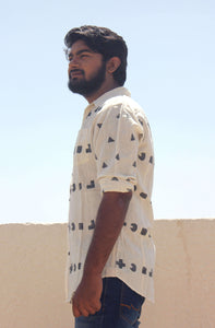Organic cotton shirt for men with block printing