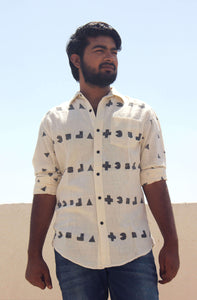 pure cotton shirt  for men with block printing