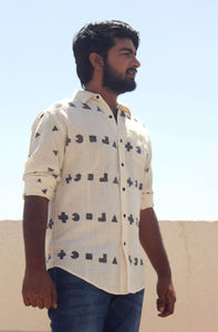 casual shirt for men with block printing