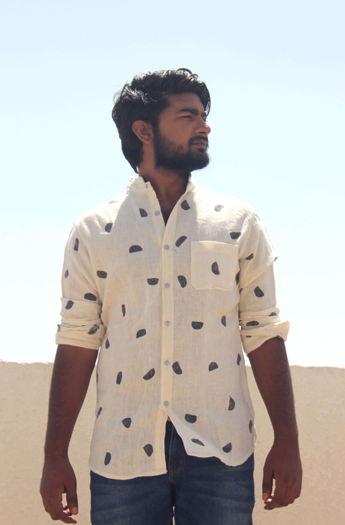 Casual cotton shirts for men with block printing front view