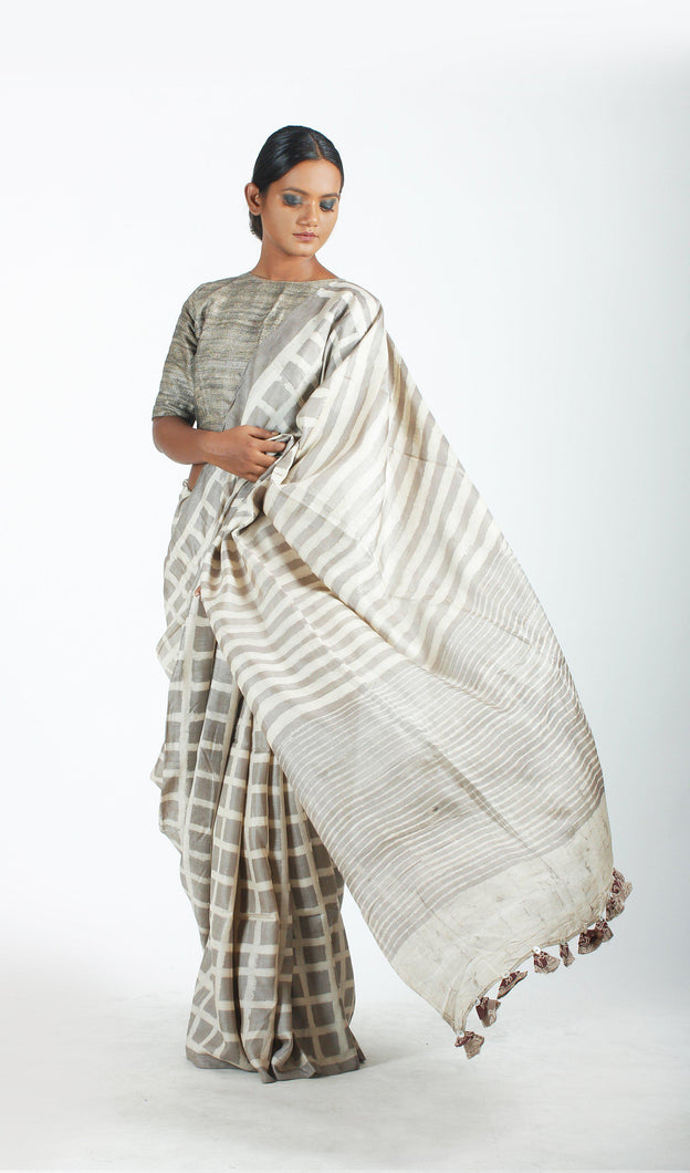 Adya Saree | Tussar silk printed using natural dyes-Resha.in