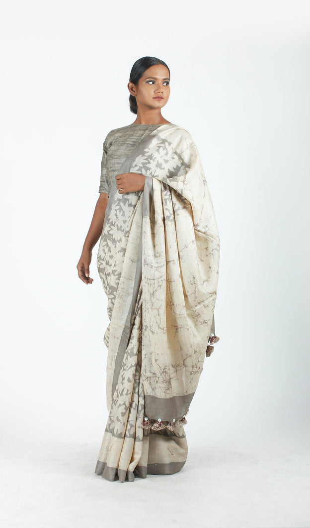 Alekhya Saree | Tussar silk printed using natural dyes-Resha.in