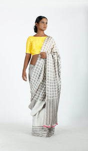 Amna Saree | Mulberry silk printed using natural dyes-Resha.in
