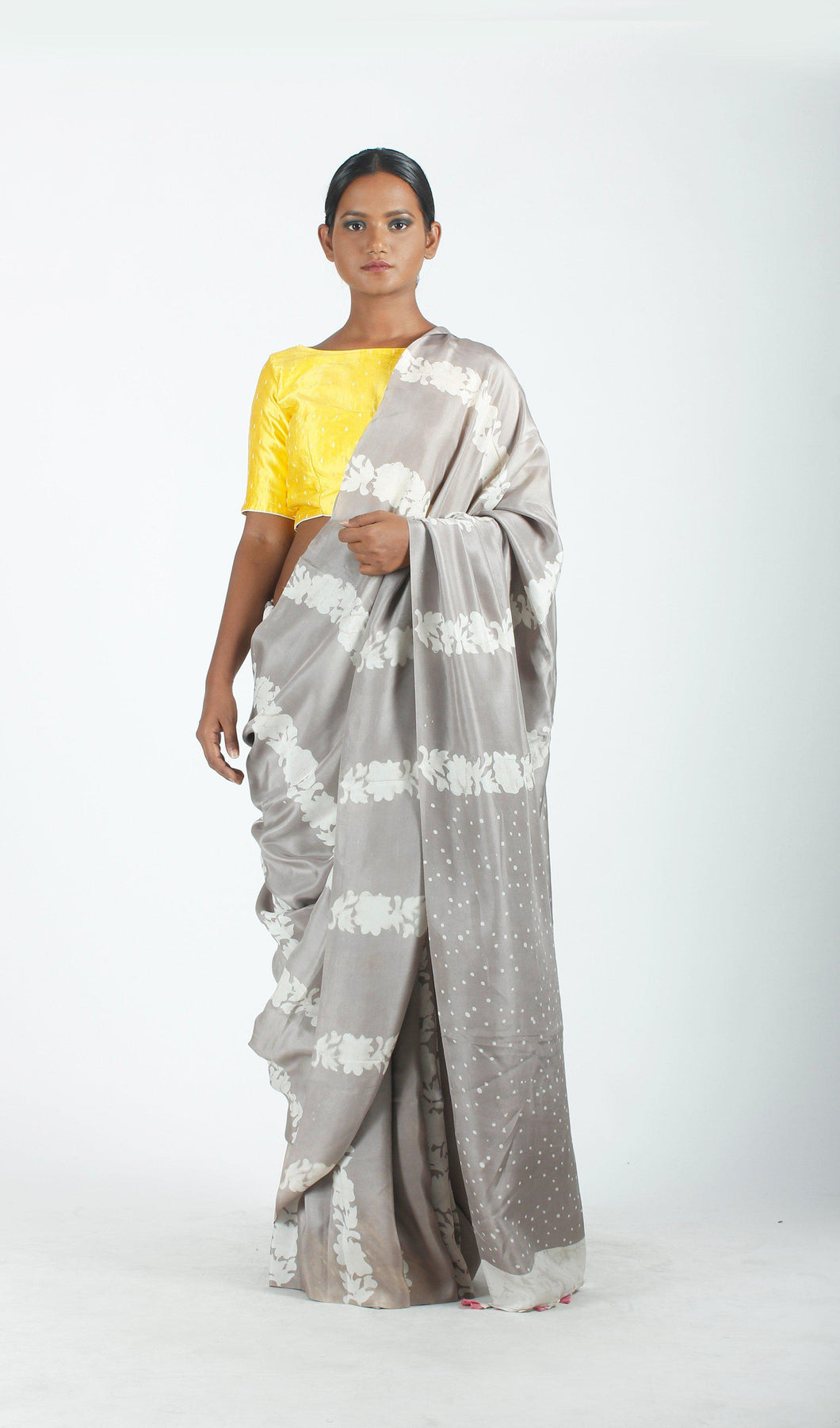 Adra Saree | Mulberry silk printed using natural dyes-Resha.in