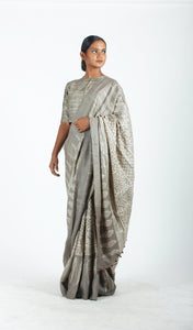 Bodhi Saree | Dabu printed tusar silk printed using natural dyes-Resha.in