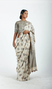 Bandita Saree | Dabu printed tusar silk using natural dyes-Resha.in