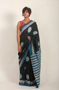 Lucinda | Linen saree with hand block print