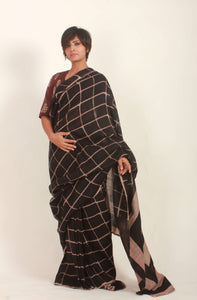 Belora | Dabu printed handwoven linen saree with natural dye