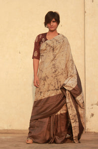 Louise | Mulberry silk saree with dabu print
