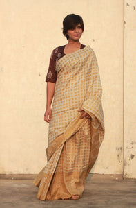 Pansy | Dabu printed mulberry silk saree