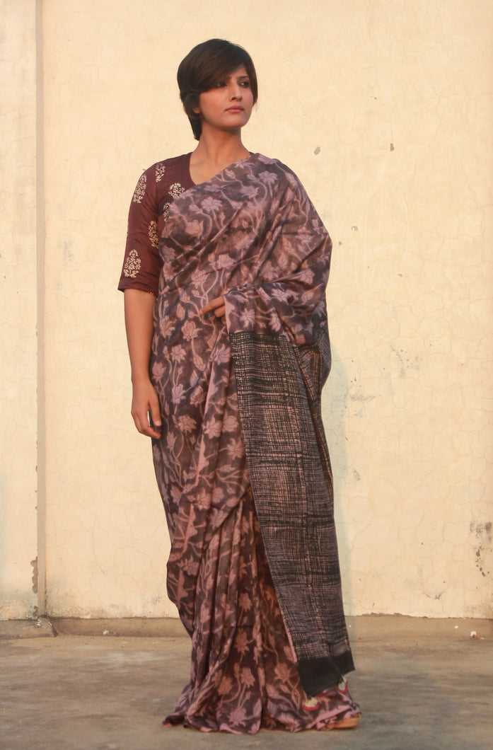 Sofia | Floral printed mulberry silk saree with natural dye