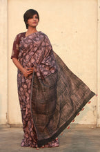 Load image into Gallery viewer, Sofia | Floral printed mulberry silk saree with natural dye