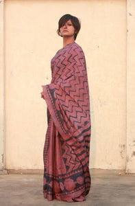 Stella | Pure silk saree with dabu print