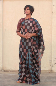 Tulip | Mulberry silk saree with dabu print
