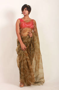 Abelia | Dabu printed pure organza silk saree with natural dye