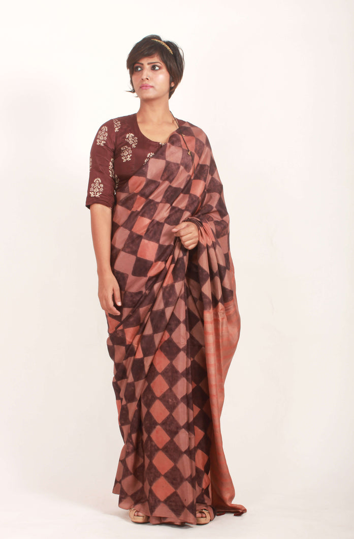 Avryl | Mulberry silk saree with block print