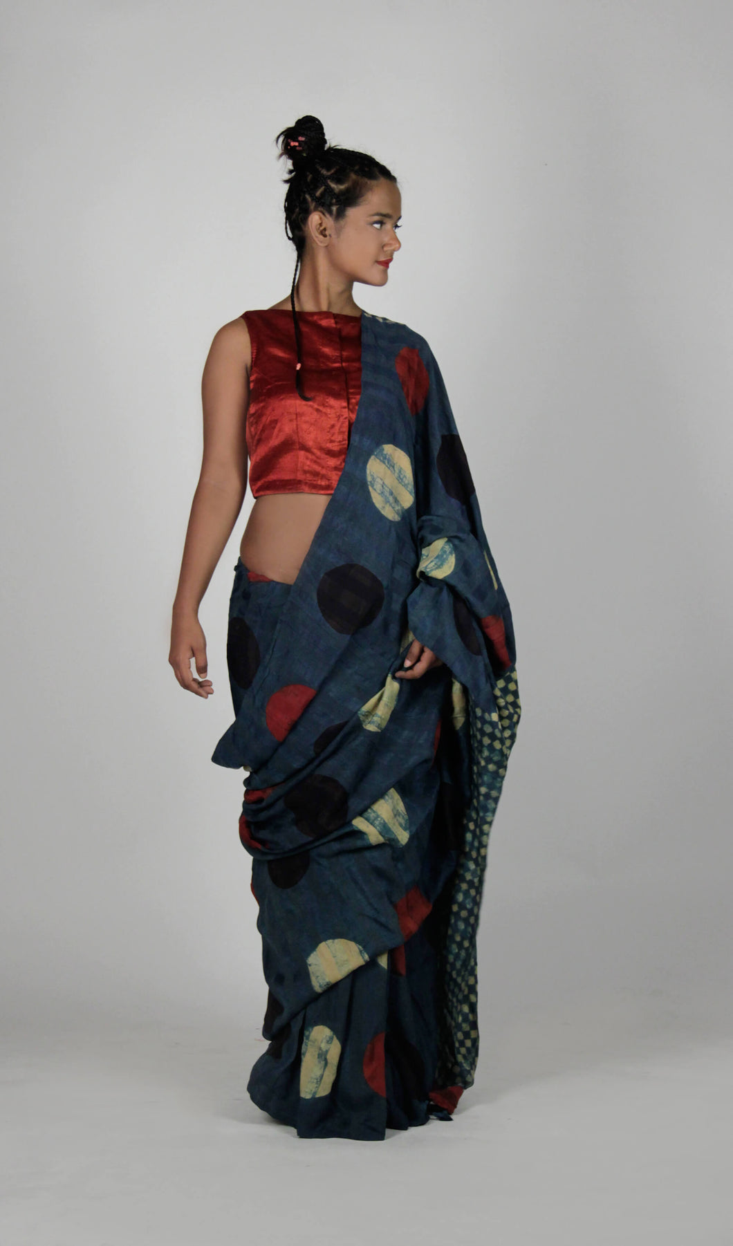 Rukhmini | Ajrakh printed natural indigo Pure silk saree