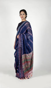 Shambhavi | Ink blue Maheshwari cotton silk handblock printed saree