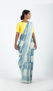 Chinmayi Saree | Dabu printed mulberry silk saree using natural dyes-Resha.in