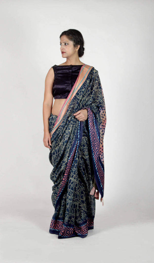 Sharmila | Maheshwari cotton silk saree handblock printed with floral jaal