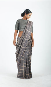 Falguni Saree | Dabu Printed Tusar Silk Saree Using Natural Dyes-Resha.in