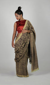Kali | Hand block printed khakhi mulberry silk saree
