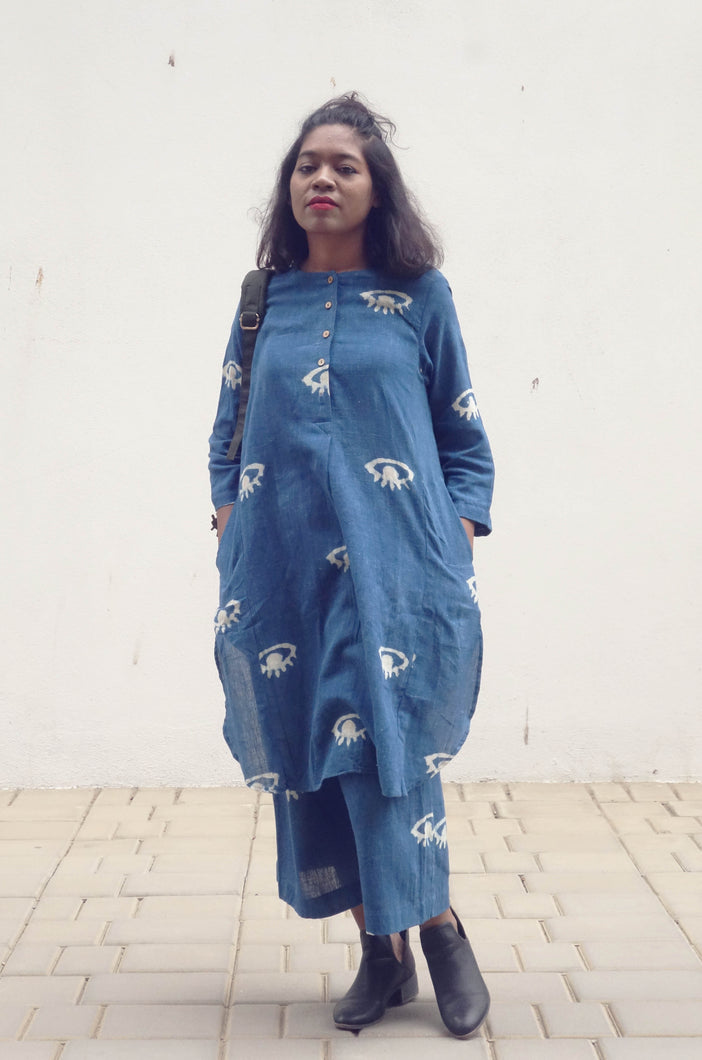 Darcelle's dress | Organic cotton Tunic with Pants with block printed eyes (Set of 2)