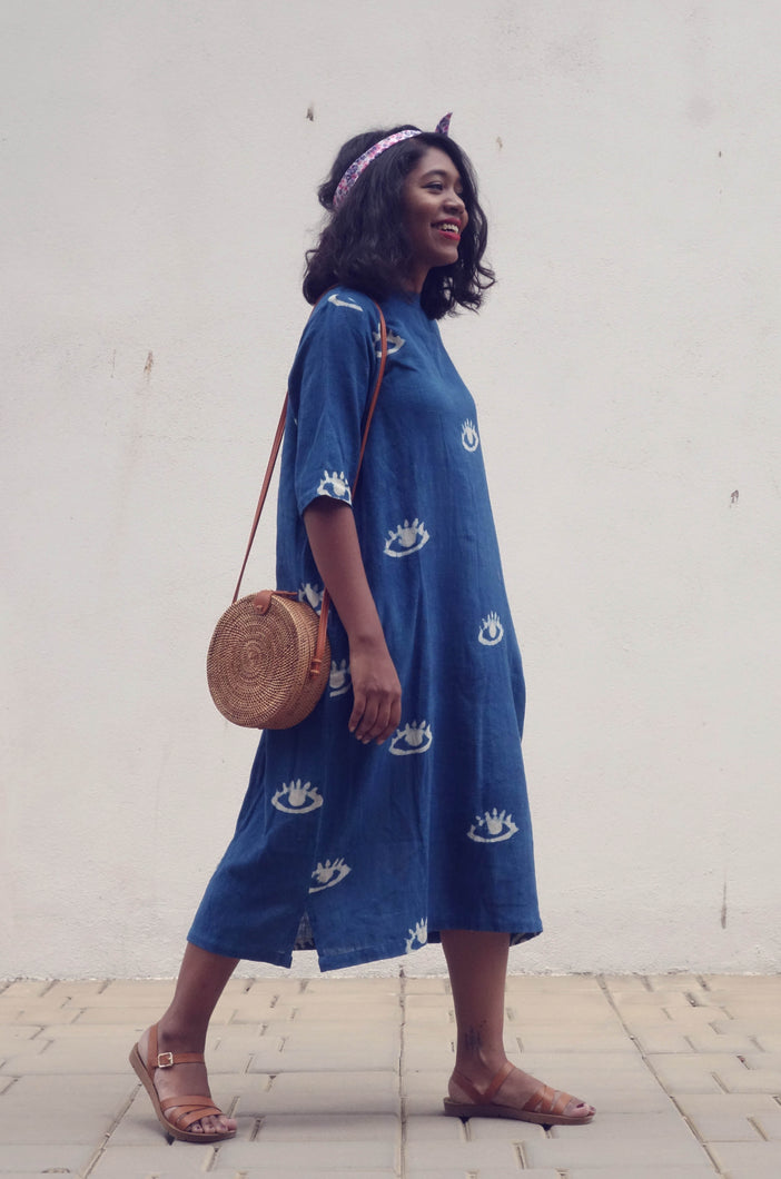 Lea's Dress | Organic cotton dress with natural indigo