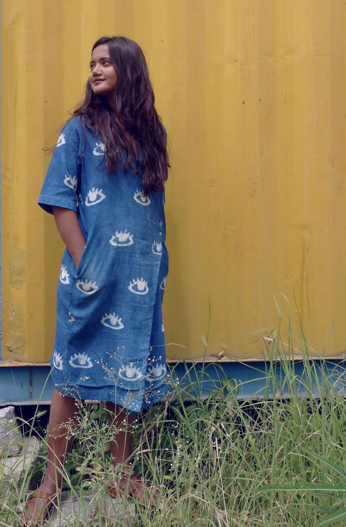 Nina's dress | Indigo kala cotton dress with block printed eyes