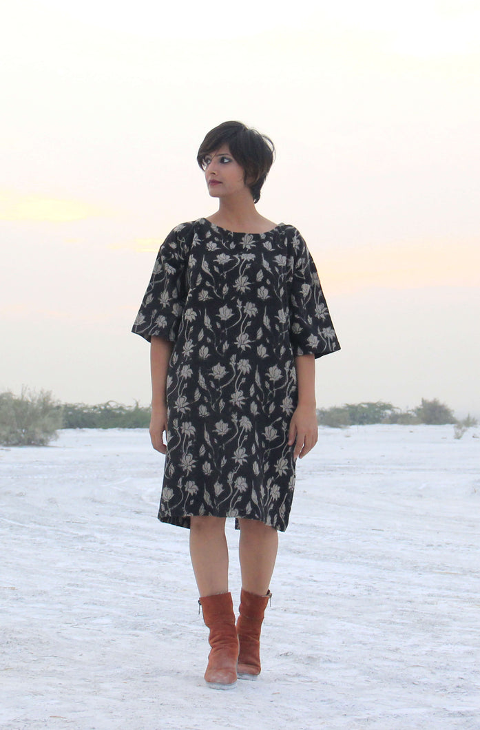 Ridhi's Dress | Organic khadi with floral print