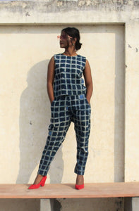 Amori Co-ord set | Natural Indigo with block print