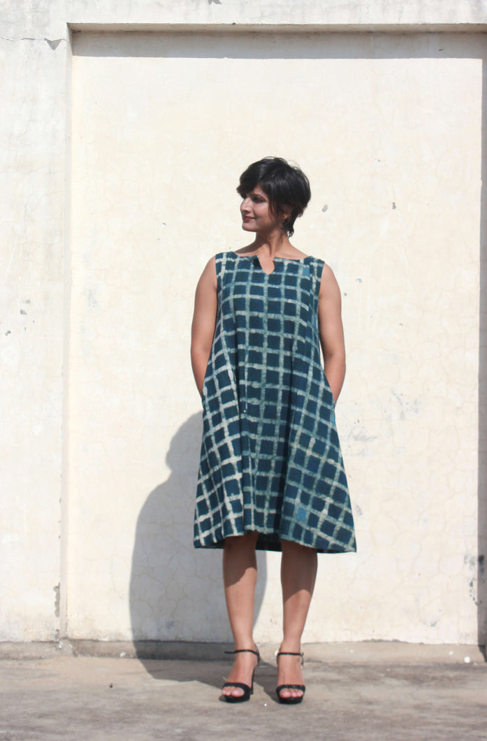 Kiera's dress | Indigo checkered organic khadi