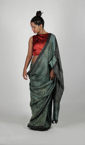 Kavita | Handblock printed dark green pure silk saree