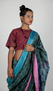 Sheeba | Maheshwari cotton silk saree handblock printed with little birdies