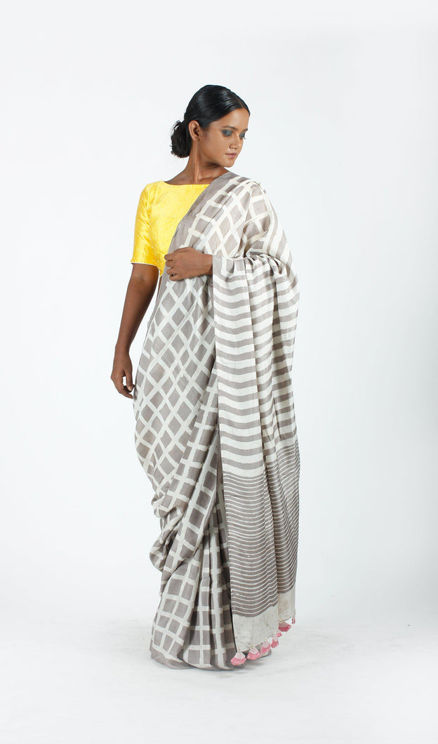 Ina Saree | Dabu printed mulberry silk saree using natural dyes-Resha.in
