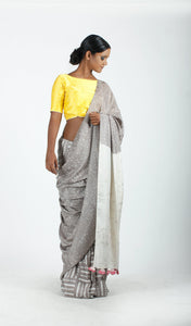 Ragini Saree | Dabu printed mulberry silk saree using natural dyes-Resha.in