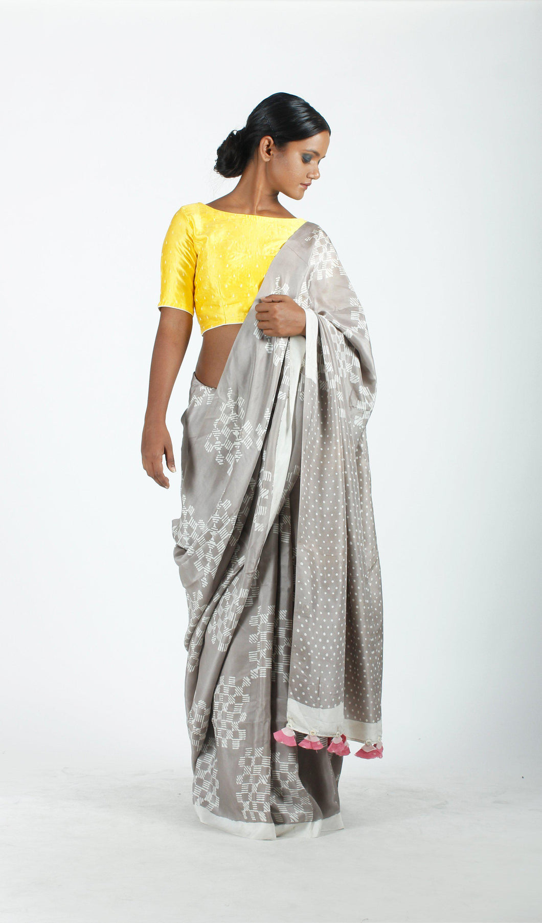Omisha Saree | Dabu printed tusar silk saree using natural dyes-Resha.in