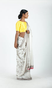 Nainika Saree | Dabu printed mulberry silk saree using natural dyes-Resha.in
